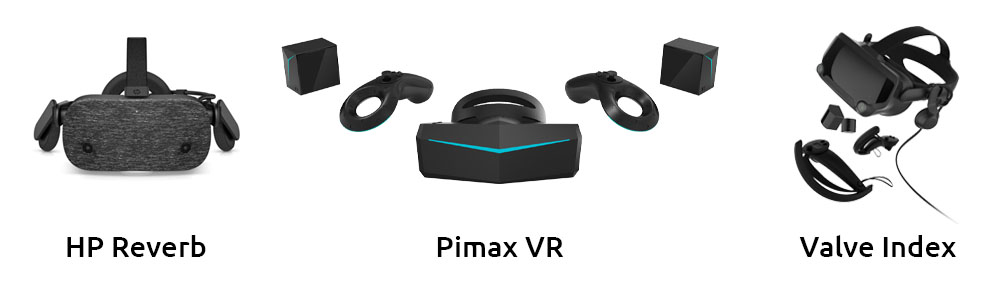 HP Reverb, Pimax VR & Valve Index